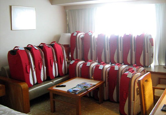 what my hotel room looked like once I had all the suitcases out of their boxes.