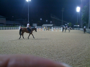 the arena just before you enter the main competition arena. For dressage this would be the 10-minute ring