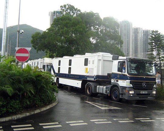 the super swanky air-conditioned rockstar horse vans from the Hong Kong Jockey Club