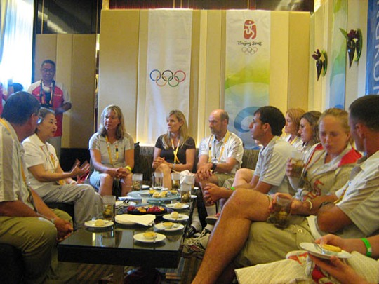 the Canadian team was invited to tea with Olympic Village mayor Ms. Elsie Leung