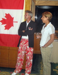 Eventing chef Graeme Thom makes a fashion statement in the infamous 'pyjama pants' with Jump's team vet Sylvie