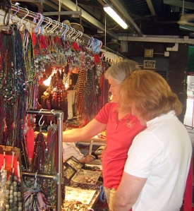 Jennifer and Leslie scoping out the merchandise