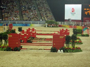 interesting that the jumbotron would onlly show the Beijing Olympic logo during a jumper's round......for dressage, it would show the actual competitor's ride at the same time (which freaked out more than 1 horse). Don't know why the jumpers get the advantage of not having the same footage being shown during their rides.