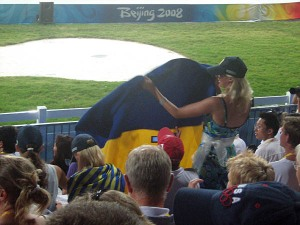 Ukraine fan showing her support