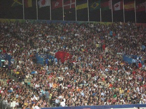 a Hong Kong flag in the midst of a packed stand