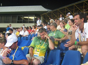 everyone in full concentration mode....including my hero Mark Todd. Sadly the Kiwis had a tough go that night with one rider crashing through a jump and another racking up 47 faults.