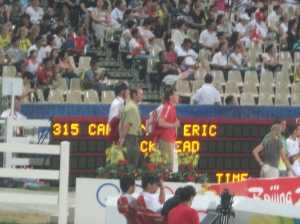 Back up on the podium, this time watching jumping dynamos Eric Lamaze and Hickstead