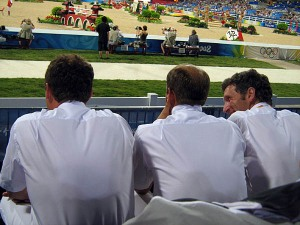 the German team analyze early rounds....unfortunately for them they finished the night with 34 faults