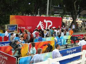 the media scrum area where riders are interviewed following their rides