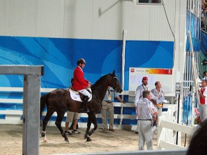 Eric and Hickstead on their way to the ring to do what they do best