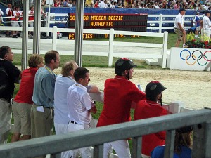 watching the last American rider to go to see if there will be a jump-off for Gold (Beezie Madden and Authentic)