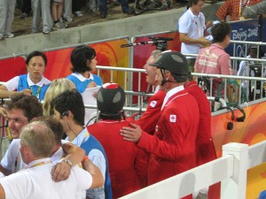 being interviewed after winning the silver medal